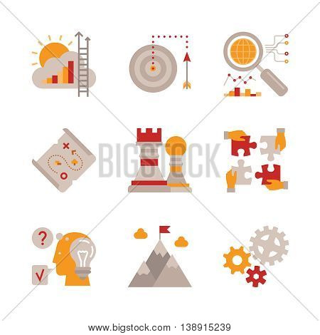 Set Of Vector Business Icons And Concepts In Flat Style
