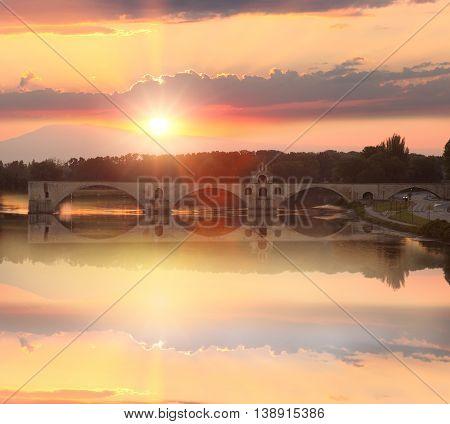 Avignon Bridge With Rhone River At Sunset, Pont Saint-benezet, Provence, France