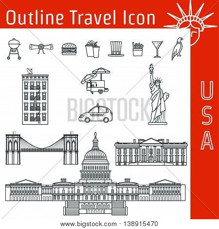 Vector Illustration of USA Icon Outline for Design, Website, Background, Banner. Tourism American Landmarks Element Template. Statue of Liberty, White House, Congress of the United States