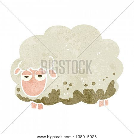 freehand retro cartoon muddy winter sheep