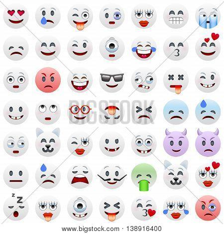 Set of White Emoticons. White Smile Icons. Isolated vector illustration on white background