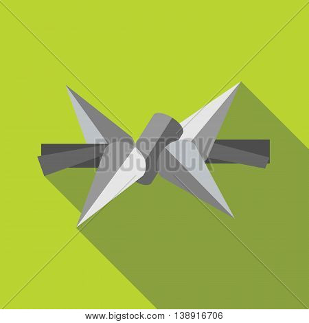 Barbed wire icon in flat style on a green background
