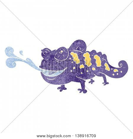 freehand retro cartoon chameleon
