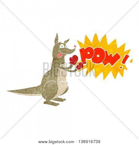 freehand retro cartoon boxing kangaroo