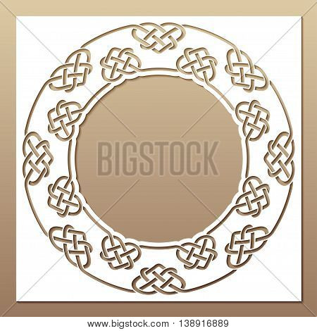 Openwork white frame with celtic motif. Laser cutting template for greeting cards envelopes wedding invitations interior decorative elements.