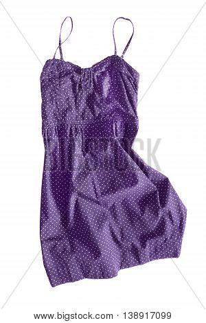 Purple crumpled sundress isolated on white background