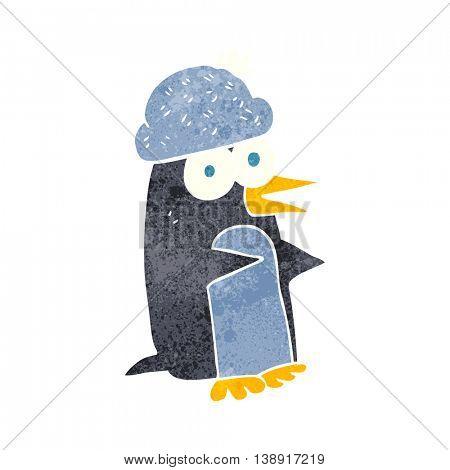 freehand retro cartoon penguin