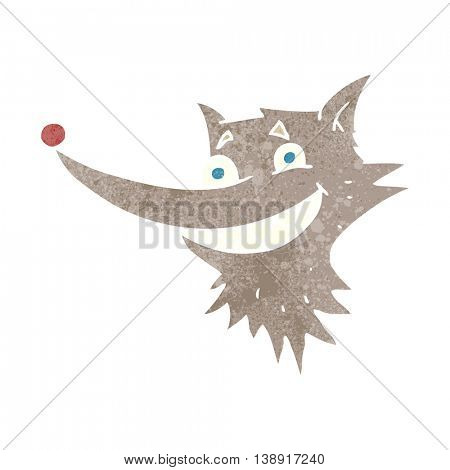 freehand retro cartoon grinning wolf face