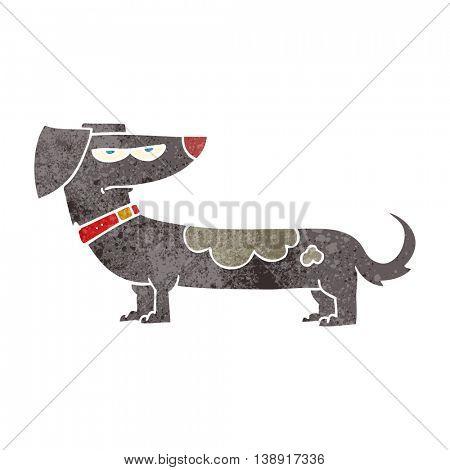 freehand retro cartoon annoyed dog