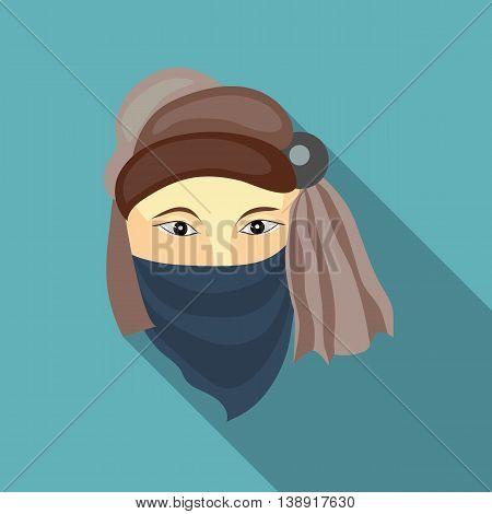 Muslim man icon in flat style on a baby blue background