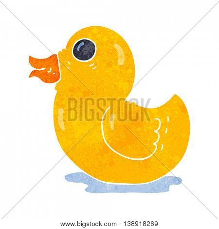 freehand retro cartoon rubber duck