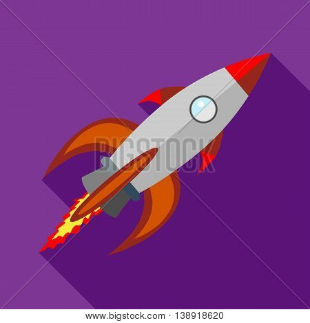 Rocket with flame icon in flat style on a purple background