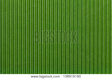 Texture corrugated green paper. Striped corrugated background closeup