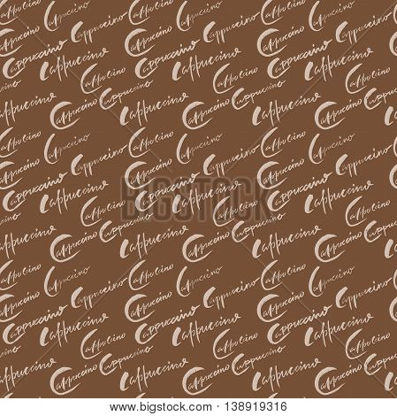 Vector illustration of seamless coffee pattern. Seamless cappuccino pattern
