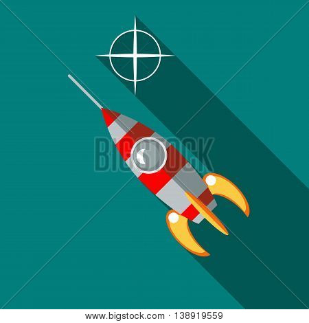 Rocket launch icon in flat style on a turquoise background