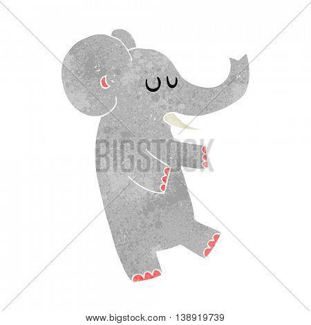 freehand retro cartoon dancing elephant