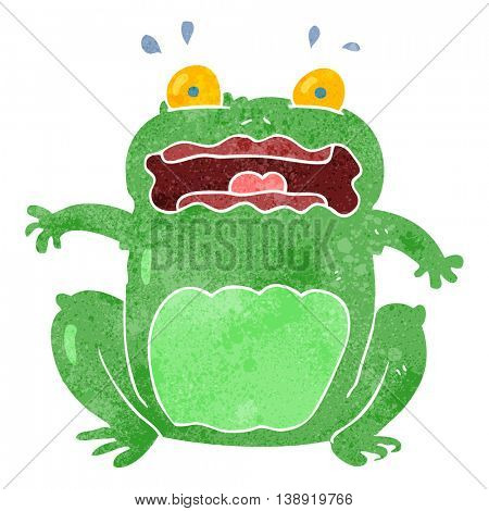 freehand retro cartoon funny frightened frog