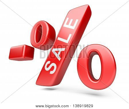 Discount red percent isolated on a withe background. High resolution 3d image.