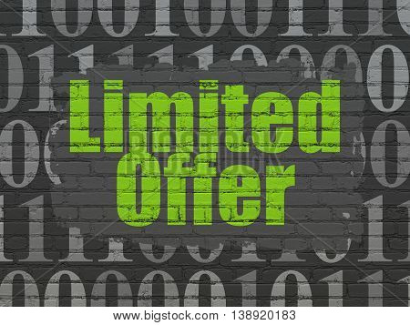 Finance concept: Painted green text Limited Offer on Black Brick wall background with  Binary Code