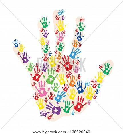 colorful hands prints in hand line vector