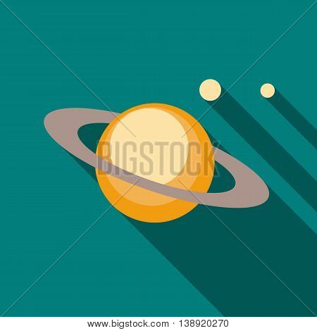 Saturn planet icon in flat style on a turquoise background
