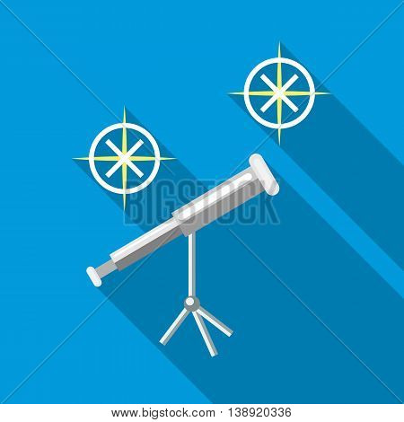 Telescope icon in flat style on a sky blue background