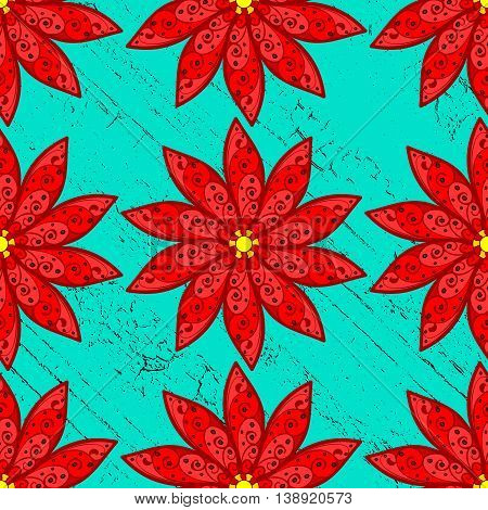 Red flowers pattern on blue roughness background. Vector illustration.