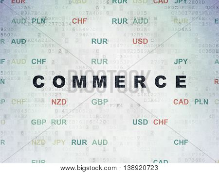 Finance concept: Painted black text Commerce on Digital Data Paper background with Currency