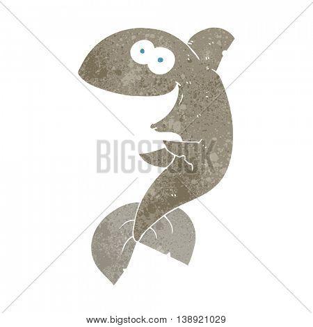 freehand retro cartoon shark