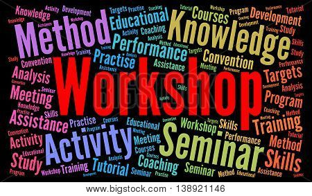 Workshop word cloud concept with a white background