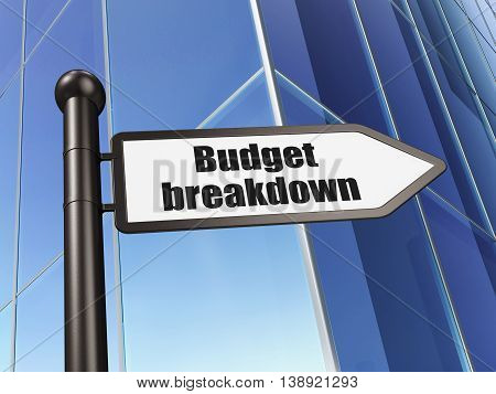 Finance concept: sign Budget Breakdown on Building background, 3D rendering