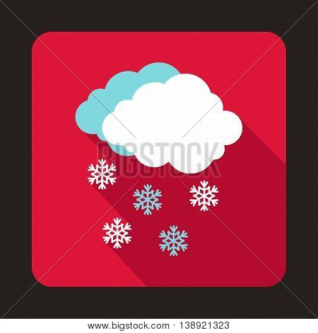 Cloud and snowflakes icon in flat style on a pink background