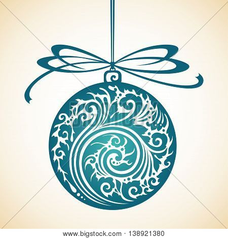 Decorative ornate Christmas ball and bow. vector illustration