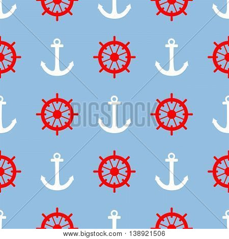 Tile sailor vector pattern with white anchor and red rudder on blue background