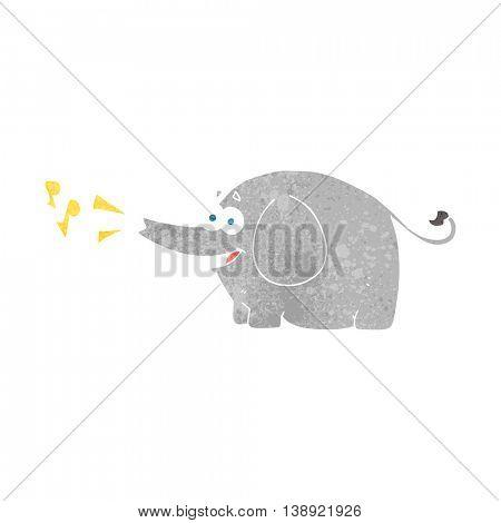 freehand retro cartoon trumpeting elephant