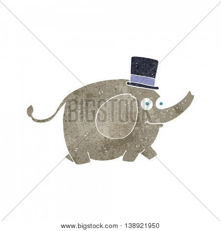 freehand retro cartoon elephant