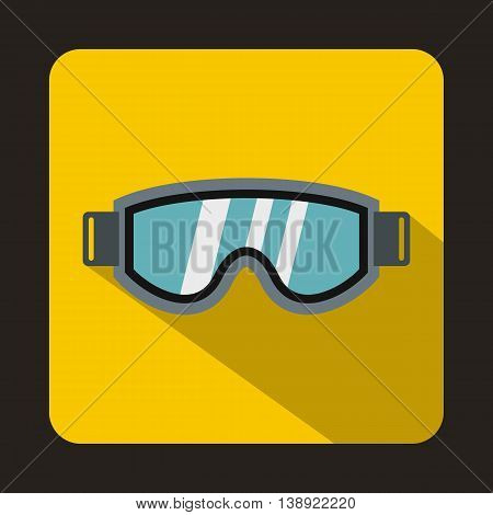 Skiing mask icon in flat style on a yellow background