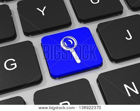 Magnifying Glass Key On Keyboard Of Laptop Computer. Search Concept.