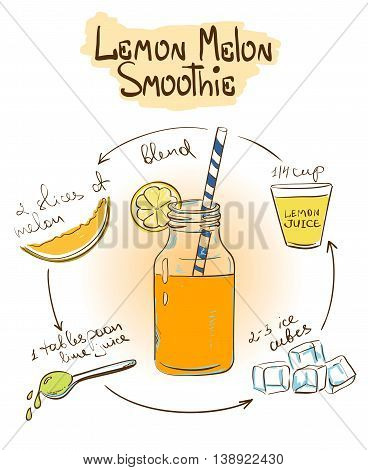 Hand drawn sketch illustration with Lemon Melon smoothie. Including recipe and ingredients for restaurant or cafe. Healthy lifestyle concept.