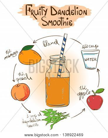 Hand drawn sketch illustration with Fruity Dandelion smoothie. Including recipe and ingredients for restaurant or cafe. Healthy lifestyle concept.