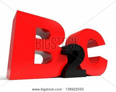 B2C Volume Letters On White Background.