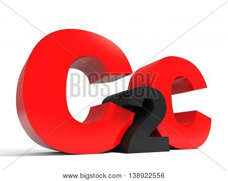 C2C Volume Letters On White Background.