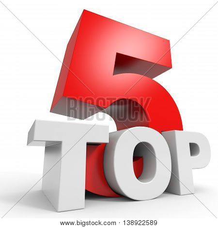 Top 5. Five on white background. 3D illustration.