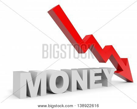 Graph down money arrow on white background. 3D illustration.