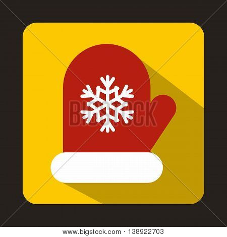 Red mitten with white snowflake icon in flat style on a yellow background