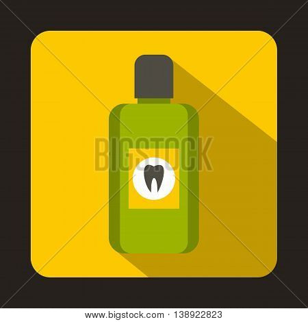Bottle of green mouthwash icon in flat style on a yellow background