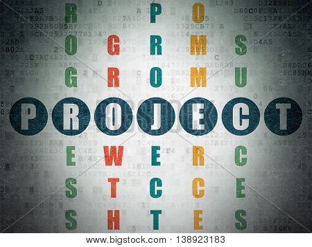 Business concept: Painted blue word Project in solving Crossword Puzzle on Digital Data Paper background