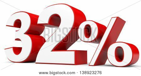 Discount 32 percent off on white background. 3D illustration.