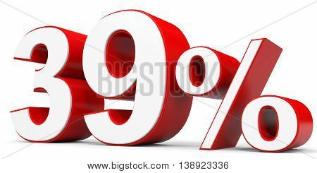 Discount 39 percent off on white background. 3D illustration.