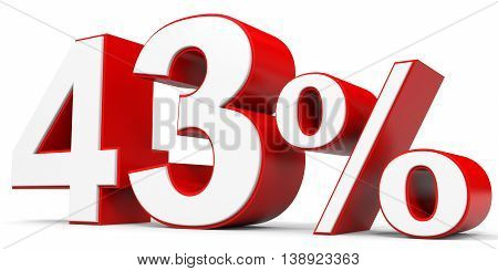 Discount 43 percent off on white background. 3D illustration.